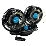 Anpress 12V Car Auto Cooling Fan Oscillating Car Air Fan with Dual Head 2 Adjustable Speeds Quiet Strong Dashboard Cooling Fans DC Electric Car Fans for Sedan SUV RV Boat Auto Vehicles Golf Cart