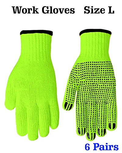 (Cotton String Knit Working Gloves - Safety Gloves High Visibility Gloves Working Gloves Cotton Work Gloves with Dots, PVC- Dotted Gloves for Working Safety Gloves for Work, Size L)