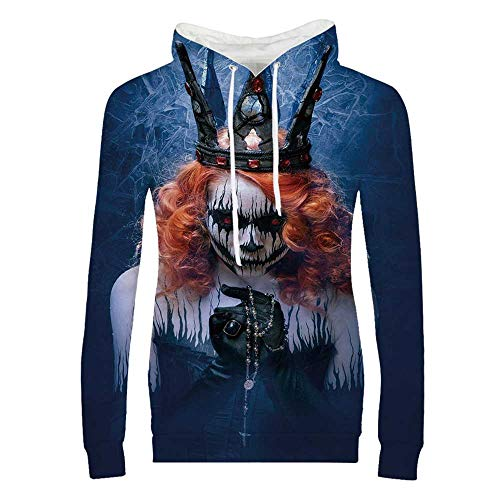 Queen Durable Hoodies,Queen of Death Scary Body Art Halloween Evil Face Bizarre Make Up Zombie for Women,S]()