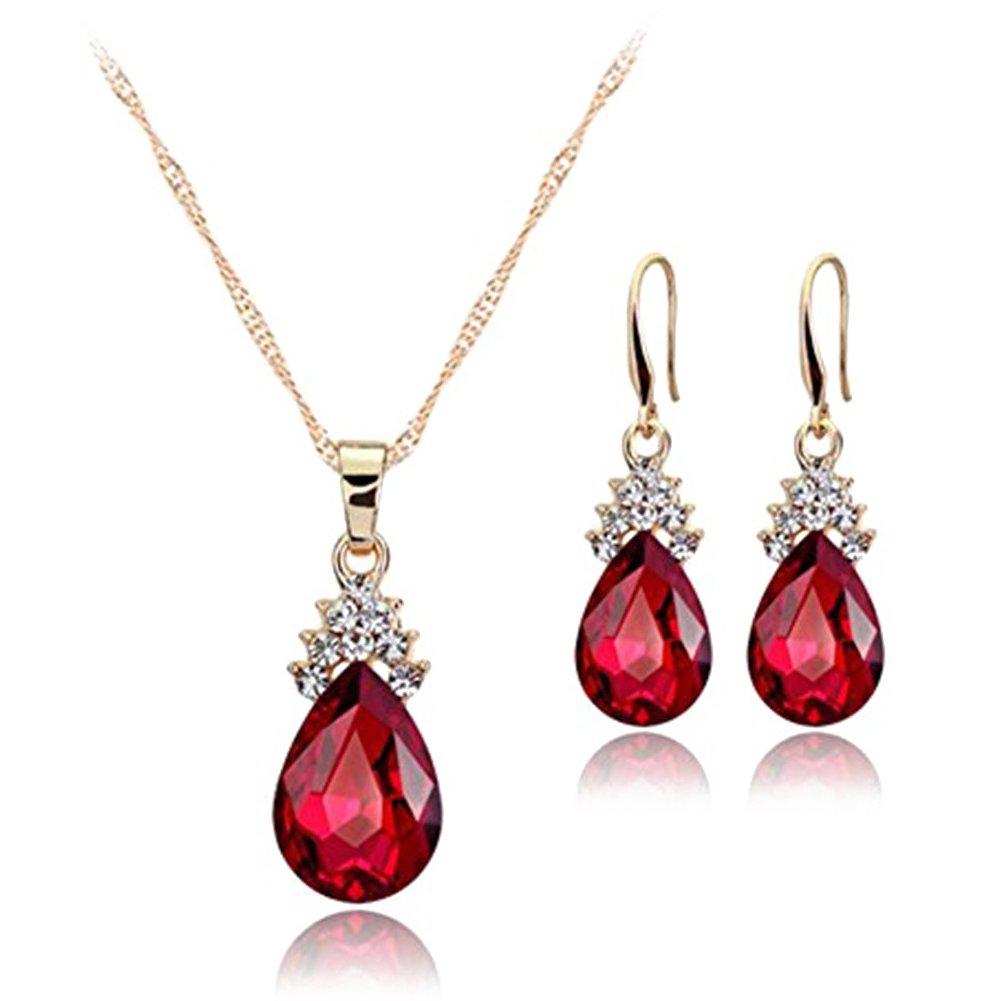 SODIAL Necklace Earrings Diamond Water Droplets Elegant Women Jewellery Set of Crystal Pendant Necklace+Earrings(White) 156829A3