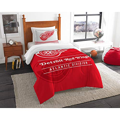 The Northwest Company Officially Licensed NHL Detroit Red Wings Draft Twin Comforter and Sham Set, Red/White