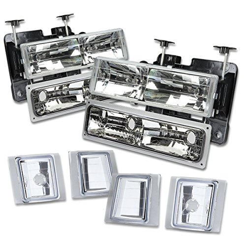 DNAMotoring HL-OH-8P-C1094-CH Headlight Assembly, Driver and Passenger Side (98 Suburban Headlight Bulbs)