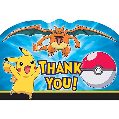 Pokemon Postcard Thank You Note (8 Pack) - Party Supplies (Pokemon Thank You Cards)