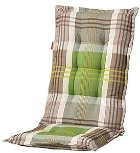 Madison Luxus C 296 - Cojín de respaldo y asiento (8 cm, para silla con respaldo alto), diseño de cuadros, color marrón y verde