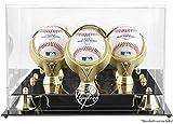 New York Yankees Golden Classic Three Baseball Logo Display Case