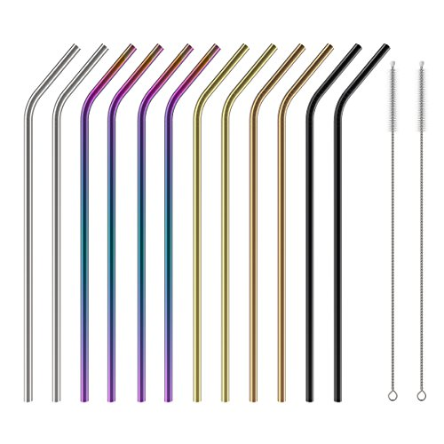 Stainless Steel Straws Set of 12, Wildone 10.5 Inch Bent Metal Drinking Straws, Reusable Straws with Free Cleaning Brush, 5 Colors, for 20oz 30oz Tumblers(12 Bent + 2 Brushes+1 Black Pouch)