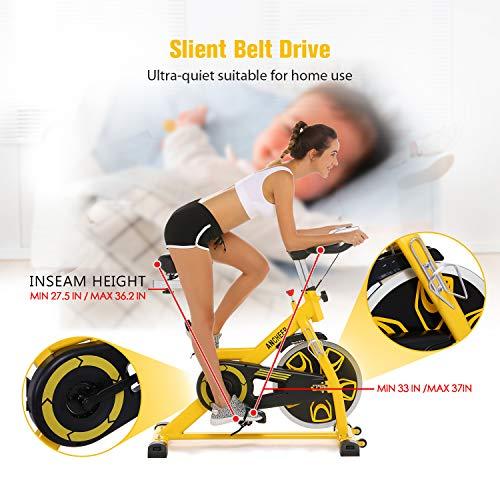 ANCHEER Indoor Cycling Bike, Belt Drive Indoor Exercise Bike with 49LBS Flywheel (Yellow) by ANCHEER (Image #7)