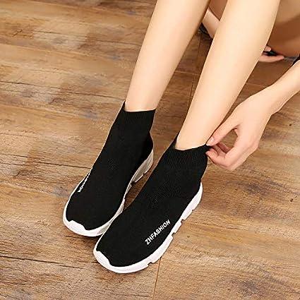 GTVERNH Chaussures Femme//Mode//Black Baskets Automne Wild Chaussures /Élastique des Chaussettes des Souliers des Bas.