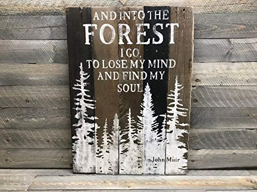 (CELYCASY Into The Forest I Go - John Muir Quote Wood Sign - Gift for Naturalist - Gift for Hiker)