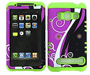 HYBRID IMPACT SILICONE CASE + LIME GREEN SKIN FOR HTC EVO 4G A9292 FLOWERS ON PINK BLACK