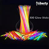 Liberty Crafters Glow Sticks Bracelets, Necklace Bulk 300 Pcs - 8'' Party Sticks