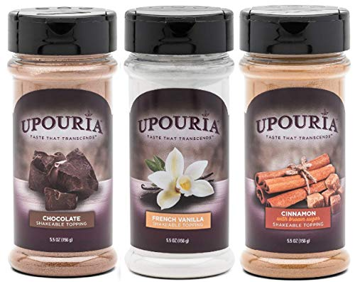 - Upouria Coffee Topping Variety Pack - Chocolate, Cinnamon with Brown Sugar, and French Vanilla, 5.5 Ounce Shakeable Topping Jars - (Pack of 3)