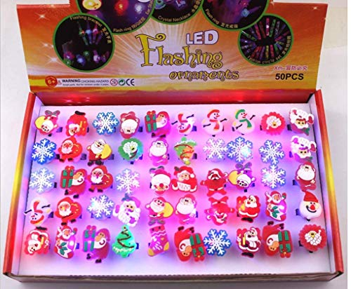 Astra Gourmet Christmas LED Ring Luminous Flash Finger Rings Toys 50 Pack Party Favor Blinking Jelly Rubber Rings Perfect Kids Adults Gifts Box Sets ()