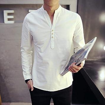 OBHDGVWN Verano Chino Estilo Vintage Hombres Camisa con Cuello en v Camisa de Lino de algodón de Manga Larga Ropa de Talla Grande 4XL: Amazon.es: Deportes y aire libre