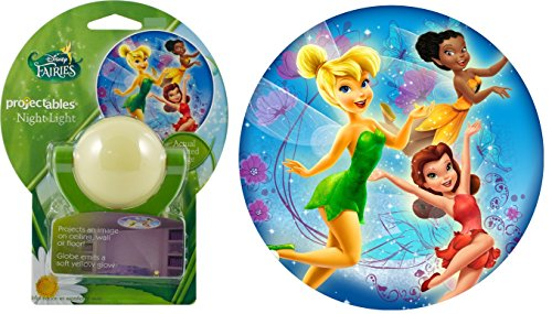 Tinkerbell Light Disney Night (Projectables 11745 Fairies LED Plug-In Night Light, White and Green, Light Sensing, Auto On/Off, Projects Disney Characters Tinker Bell, Iridessa, and Rosetta Image on Ceiling, Wall, or Floor)