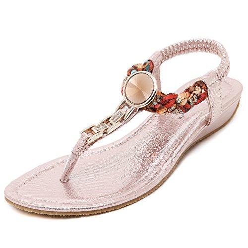 DQQ Damen Exotic Strass flach Sandale, Pink - rose - Größe: 36