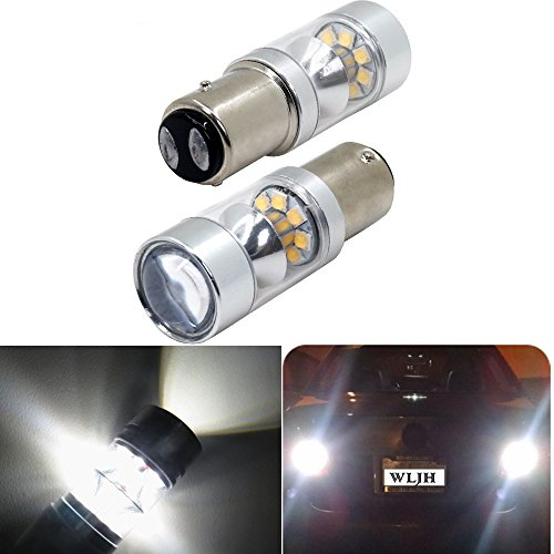 Base Bay15d - 2PCS White Fog Light Bulbs Reverse Tail Brake Lights DRL Bulbs with Reflector Mirror 1154 1157 BAY15D Base 100W 8000K 20 Led CREE Chip