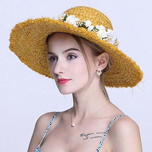 LONFENN Ladies Women Hats Beach Resort The Summer Flowers Straw Hat Outdoor Visor Sun Hat with A Wide Yellow Garlands Rough Edges Awnings Suitable for Head Circumference 55-58Cm Adj.