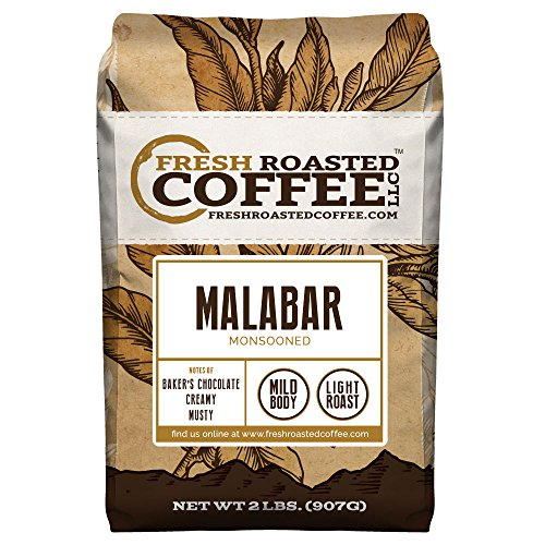 Fresh Roasted Coffee LLC, Indian Monsooned Malabar Coffee, Light Roast, Whole Bean, 2 Pound Bag ()