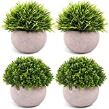 CEWOR 4 Packs Artificial Mini Potted Plants Plastic Topiary Shrubs Fake Plants for Bathroom Home Office Decorations
