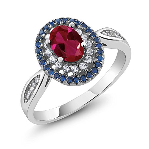 Blue Sapphire Ruby Ring - Gem Stone King Sterling Silver Oval Red Created Ruby Women's Ring 1.54 Carat (Size 8)