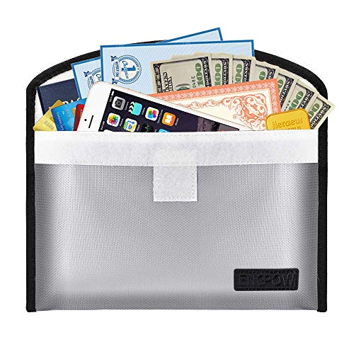 Fireproof Reusable Envelopes Safe Money Bag Bank budgeting Cash Envelope10.6 x6.7 Non-Itchy Liquid Silicone Coated Passport Jewelry Important Documents (Gray-L) ()