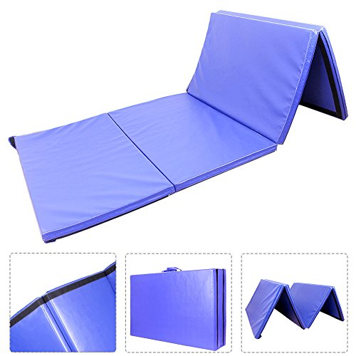 GZYF 4'x10'x2 Foldable Gymnastics Mat Gym Folding Exercise Mats Stretching Yoga Tumbling Mothers' Day, Blue