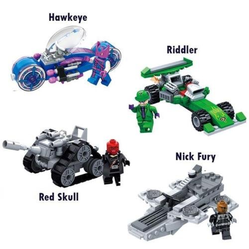 L 4pcs Red Skull/Magneto/Galactus/Riddler Car DIY Blocks Minifigures Toys Gifts (Marvel Classic Hulk Costume Kit)