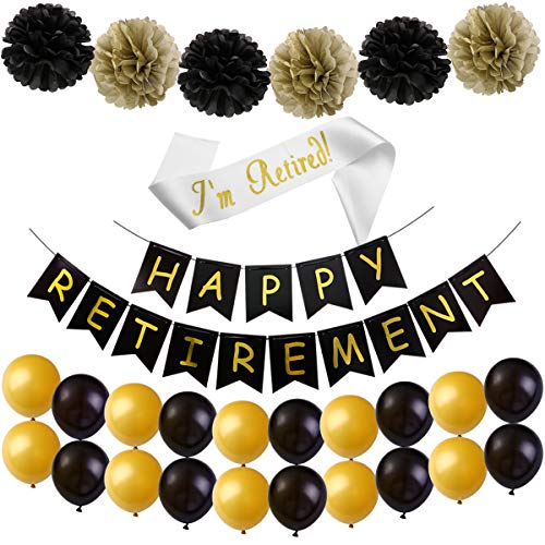 Happy Retirement Banner, Retirement Party Decorations Kit, Retirement Party Supplies Favors Gifts and Decorations with Pom Poms Latex Balloons Retired Sash by Alrigon