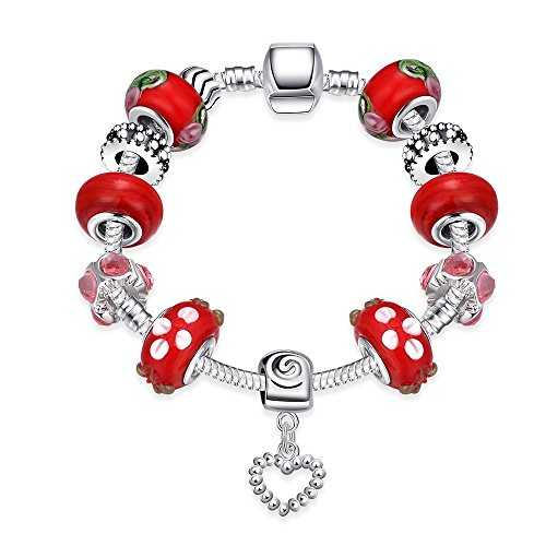 Gorgeous Jewelry Classical Red Beaded Diamond Accented Crystal Character Heart Pendant Silver (Colonial Towel Bar)