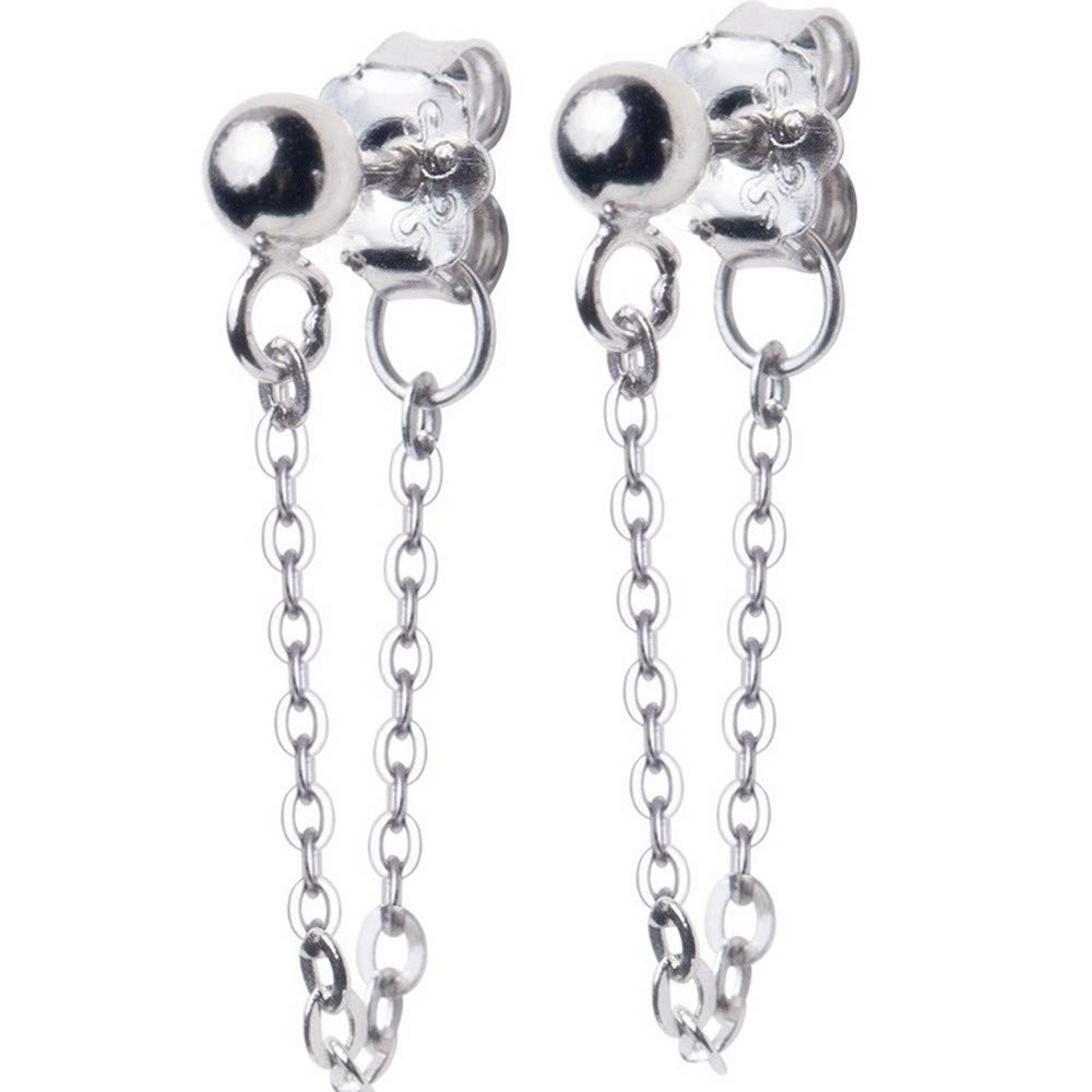Chic Short Chain Drop Dangle Earrings for Women Girls 925 Sterling Silver Small Ball Bead Personalized Post Studs Piercing Ear Men Boys Hypoallergenic Fashion Jewelry Minimalist