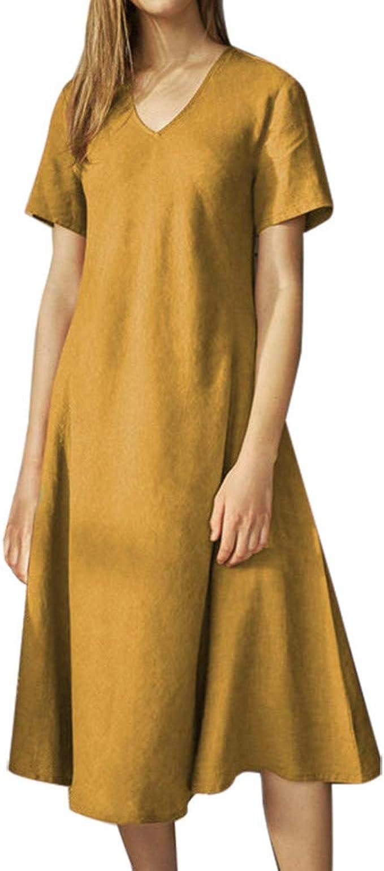 DressLksnf Vestido de Mujer Verano Color Sólido Falda de la ...