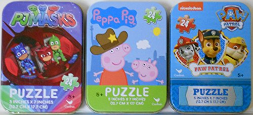 3 Mini Puzzles in Tin Cases Bundle: Disney Junior PJ Masks & Peppa Pig & Paw Patrol- 24 Pieces Per Puzzle]()