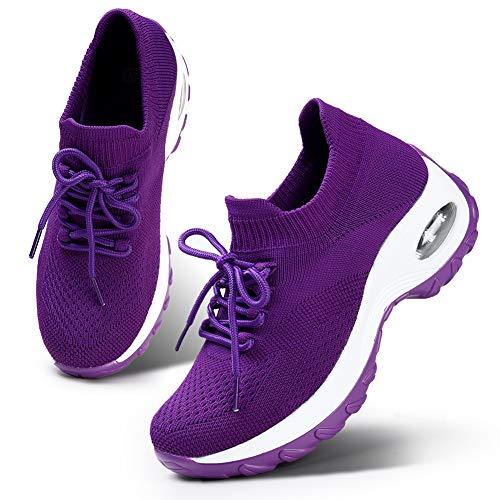 HKR Women's Lightweight Sports Tennis Shoes Comfortable Platform Walking Gym Sneakers All Purple 7(1862quanzi38)