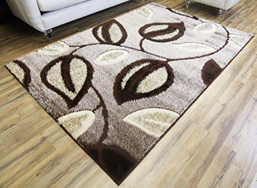 Beige Leaves - GLORIA RUG Super Soft Indoor Modern Shag Rug Silky Smooth Rugs Fluffy Shaggy Area Rug - Stain Resistant Dining Room Home Bedroom Living Room Carpet (5 x 7, Brown Beige Leaf Design 1048)