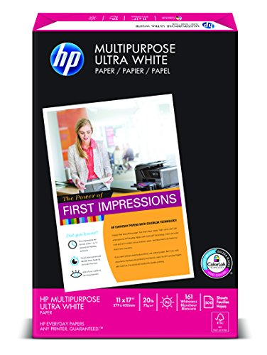 HP Paper, Multipurpose Ultra White, 20lb, 11 x 17 , Ledger, 96 Bright,  500 Sheets / 1 Ream (172001), Made In The USA (11 X 17 Paper)