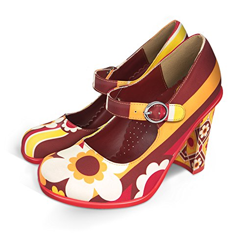 Hot Chocolate Design Chocolaticas High Heels 1970 Women's Mary Jane Pump Multicoloured HCD 38 Design High Heel