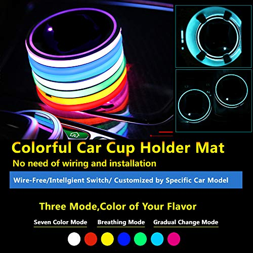 2pcs Multicolor LED Cup Holder Mat Pad USB Charging Interior Light Decoration Neon Lights Custom Lighting Accessories Mouldings Trim Lamps Vehicle Parts Decor Lamp Atmosphere Fit All Cars(Blank Type)