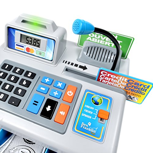 5188DYqXy5L - Ben Franklin Toys Talking Toy Cash Register - store learning play set with 3 languages, paging microphone, credit card, bank card and play money