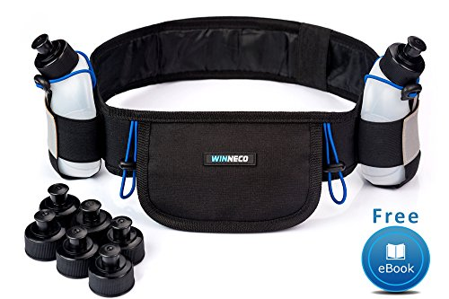 Running Belt - Hydration Belt - Water Belt with 2 BPA Free 9 OZ Bottles - Fuel Belt Fits All Smartphones - Reflective Waterproof Running Gear - Men or Women Runners Belt - Waist Pouch - Fanny Pack