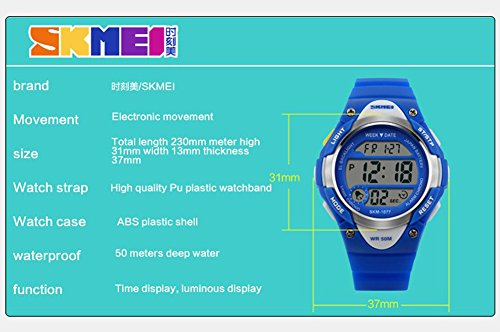Boys Girls Multifunction Fashion Digital LED Sports Wrist Watch 50M Water Resistant Silicone Student Kids by OWIKAR (Image #4)