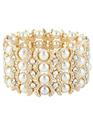 Ever Faith Gold-Tone Austrian Crystal Cream Simulated Pearl Bridal Layers Stretch Bracelet Clear N04472-2