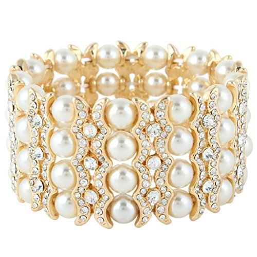 Vintage Of Pearl Bracelet Mother (EVER FAITH Women's Austrian Crystal Cream Simulated Pearl Layers Stretch Bracelet Clear Gold-Tone)