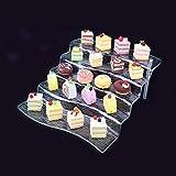 5-Tier Clear Acrylic Cupcake Display Stand Riser Step Rectangular Dessert Cake Food Serving Fruits Buffet Rack for Wedding Dinner Party Centerpiece