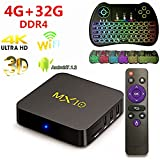 TV BOX,MX10 4G32G DDR4 Android 7.1.2 tv box Smart 4K TV RK3328 Quad Core 4GB DDR4 32GB Wifi Set Top Boxes Support 3D 4K Ultra HD TV with Free Colorful backlit mini Keyboard