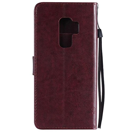 Galaxy S9Plus móvil, Samsung Galaxy S9Plus móvil, cowx PU Funda de piel para Samsung Galaxy S9Plus Funda Árbol para gatos marrón
