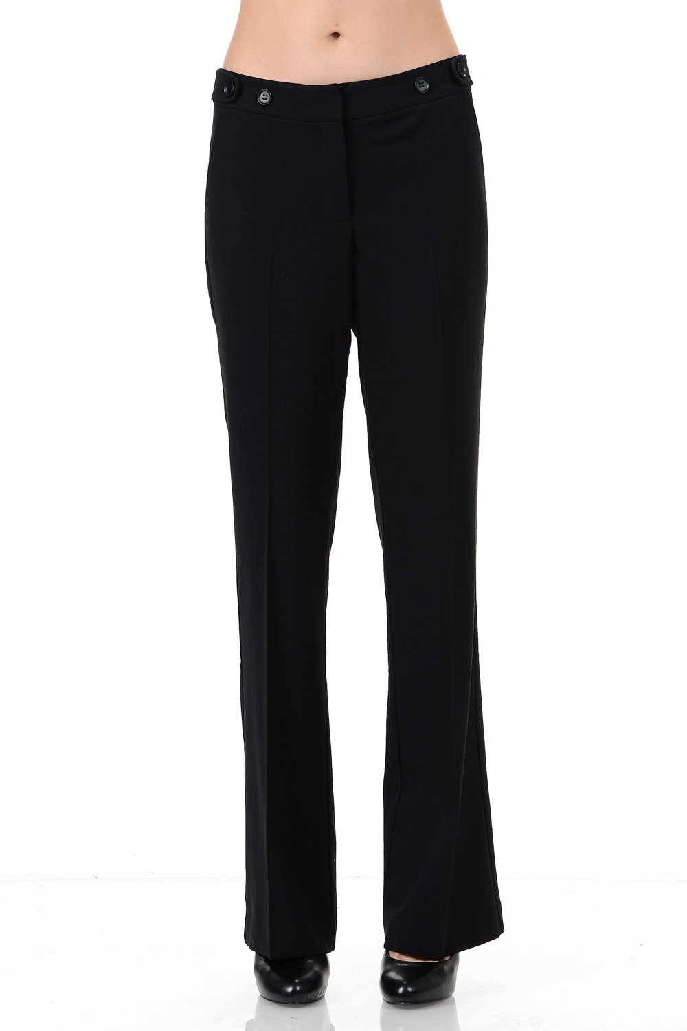 Maryclan Career Women's Dress Pants Little Boot Cut With Double Button Tab Detail (Large, Black)
