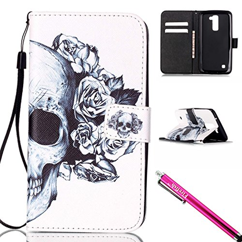 Leather Synthetic Shell (LG K10 Case, Firefish [Card Slots] [Kickstand] Flip Folio Wallet Case Synthetic Leather Shell Scratch Resistant Protective Cover for LG K10-Skull)