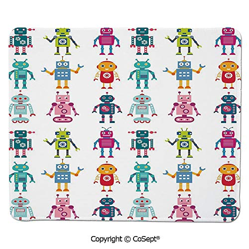 Gaming Mouse Pad,Colorful Cartoon Set of Robot Figures Futuristic Funny Mascots Friendly Androids Decorative,for Computer,Laptop,Home,Office & Travel(15.74