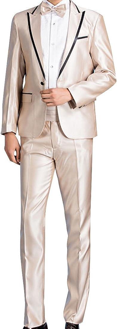Yusky Mens Slim Cut Tailored Collar Dinner Jacket /& Pants Set
